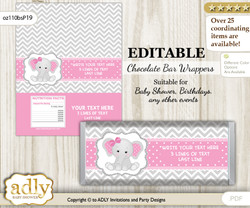 Personalizable Girl Elephant Chocolate Bar Candy Wrapper Label for Girl  baby shower, birthday Grey Pink , Chevron