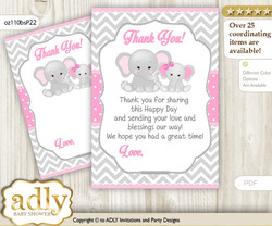 Girl  Elephant Thank you Cards for a Baby Girl Shower or Birthday DIY Grey Pink, Chevron