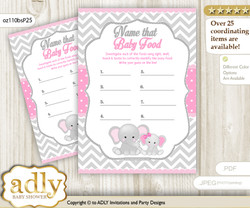Girl Elephant Guess Baby Food Game or Name That Baby Food Game for a Baby Shower, Grey Pink Chevron