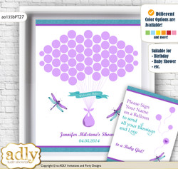 Girl Dragonfly Guest Book Alternative for a Baby Shower, Creative Nursery Wall Art Gift, Purple Teal, Glitter