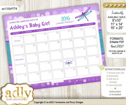Girl Dragonfly Baby Due Date Calendar, guess baby arrival date game