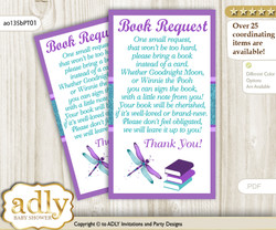 Request a Book Instead of a Card for Girl Dragonfly Baby Shower or Birthday, Printable Book DIY Tickets, Glitter, Purple Teal
