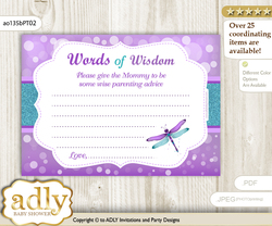 Purple Teal Girl Dragonfly Words of Wisdom or an Advice Printable Card for Baby Shower, Glitter