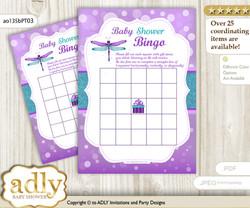 Printable Purple Teal Dragonfly Bingo Game Printable Card for Baby Girl Shower DIY grey, Purple Teal, Glitter