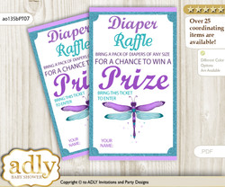 Girl Dragonfly Diaper Raffle Printable Tickets for Baby Shower, Purple Teal, Glitter