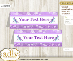 Printable Girl Dragonfly Buffet Tags or Food Tent Labels  for a Baby Shower or Birthday , Purple Teal, Glitter