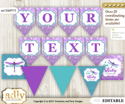 Personalized Girl Dragonfly Printable Banner for Baby Shower, Purple Teal, Glitter