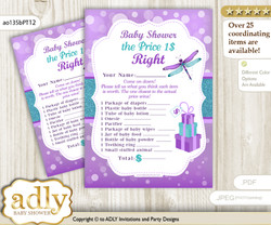Printable Girl Dragonfly Price is Right Game Card for Baby Dragonfly Shower, Purple Teal, Glitter