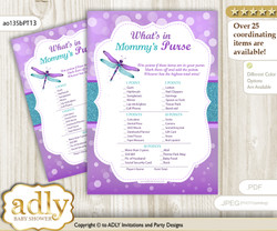 Girl Dragonfly What is in Mommy's Purse, Baby Shower Purse Game Printable Card , Purple Teal,  Glitter