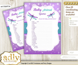 Printable Girl Dragonfly Baby Animal Game, Guess Names of Baby Animals Printable for Baby Dragonfly Shower, Purple Teal, Glitter