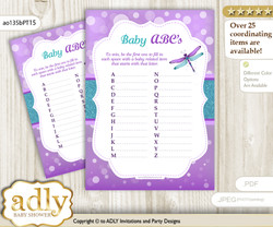 Girl Dragonfly Baby ABC's Game, guess Animals Printable Card for Baby Dragonfly Shower DIY – Glitter
