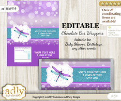 Personalizable Girl Dragonfly Chocolate Bar Candy Wrapper Label for Girl  baby shower, birthday Purple Teal , Glitter