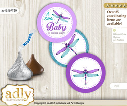 Printable  Girl Dragonfly Candy Kisses for Baby Girl Shower DIY Purple Teal , Glitter