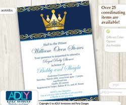 Dark Blue and Gold Prince or King Invitation