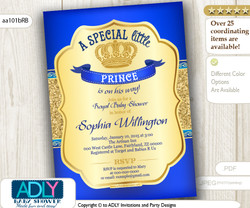 Bright Royal Blue Gold Glitter Prince/ King Invitation for baby shower, true royal blue color