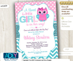 Teal Pink Girl Owl Baby Shower Invitation, turquoise