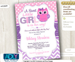 Purple Pink Girl Owl Baby Shower Invitation, lavender