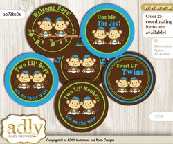 Baby Shower Twins Monkey Cupcake Toppers Printable File for Little Twins and Mommy-to-be, favor tags, circle toppers, Boys, Green Blue