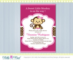 Hot Pink Girl Monkey Baby Shower Invitation Printable DIY card for girl in pink, brown,, polka dots - ONLY digital file  - Instant Download