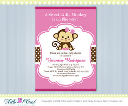 Girl Monkey Baby Shower Invitation Printable DIY card for girl in pink, brown,lilac, purple, bithday invitation - ONLY digital file - Instant Download
