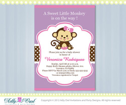 Girl Monkey Jungle Monkeys Baby Shower Printable DIY party invitation for girl in pink, brown, green,purple - Instant Download
