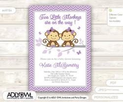 Purple Twin Monkeys Baby Shower invitation for girl, lavander, grey chevron monkey baby shower invitation, it's twins