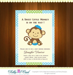Personalized Boy Monkeys Baby Shower Printable DIY party invitation
