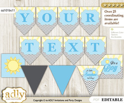 Personalized Boy Sunshine Printable Banner for Baby Shower, blue grey, chevron