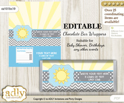 Personalizable Boy Sunshine Chocolate Bar Candy Wrapper Label for Boy  baby shower, birthday blue grey , chevron