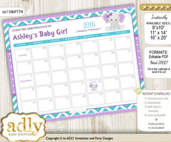 Girl Elephant Due Date Calendar, guess baby arrival date game