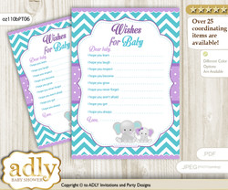Girl Elephant Wishes for a Baby, Well Wishes for a Little Elephant Printable Card, Peanut, Purple teal