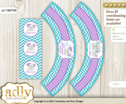 Printable Girl Elephant Cupcake, Muffins Wrappers plus Thank You tags for Baby Shower Purple teal, Peanut