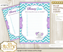 Girl Elephant Memory Game Card for Baby Shower, Printable Guess Card, Purple teal, Peanut