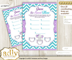 Girl Elephant Dirty Diaper Game or Guess Sweet Mess Game for a Baby Shower Purple teal, Peanut