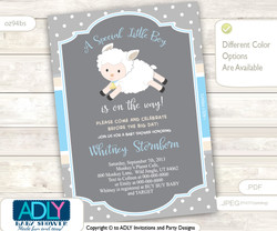 Blue, Grey Boy Lamb invitation for baby shower, digital invitation