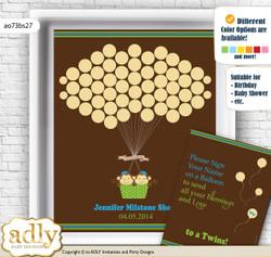 Twins Monkey Guest Book Alternative for a Baby Shower, Creative Nursery Wall Art Gift, Green Blue, Boys