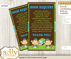 Request a Book Instead of a Card for Twins Monkey Baby Shower or Birthday, Printable Book DIY Tickets, Boys, Green Blue