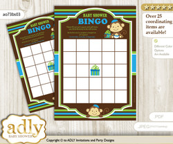 Printable Green Blue Monkey Bingo Game Printable Card for Baby Twins Shower DIY grey, Green Blue, Boys