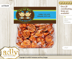 Printable Twins Monkey Treat or Goodie bag Toppers for Baby Twins Shower or Birthday DIY Green Blue, Boys