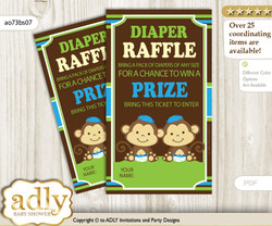 Twins Monkey Diaper Raffle Printable Tickets for Baby Shower, Green Blue, Boys