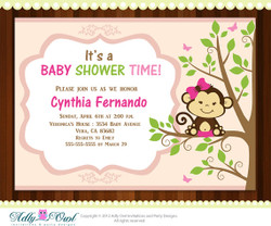 Peach Pink Monkey in tree Baby Shower or Birthday invitation, sweet little monkey is on the way invitation - Instant Download