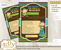 Printable Twins Monkey Price is Right Game Card for Baby Monkey Shower, Green Blue, Boys