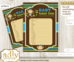Printable Twins Monkey Baby Animal Game, Guess Names of Baby Animals Printable for Baby Monkey Shower, Green Blue, Boys