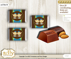 Twins Monkey Chocolate Nuggets Candy Wrapper Label for Baby Twins Shower  Green Blue , Boys