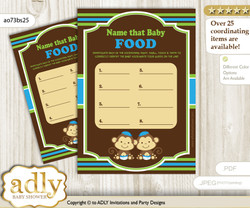 Twins Monkey Guess Baby Food Game or Name That Baby Food Game for a Baby Shower, Green Blue Boys
