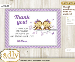 Twins Monkey  Printable Card with Name Personalization for Baby Shower or Birthday Party