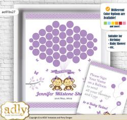 Twins Monkey Guest Book Alternative for a Baby Shower, Creative Nursery Wall Art Gift, Lavender, Girls
