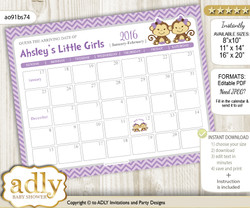 Monkey Baby Due Date Calendar, guess baby arrival date game