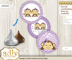 Printable  Twins Monkey Candy Kisses for Baby Twins Shower DIY Lavender , Girls