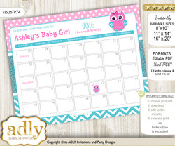 Girl Owl Baby Due Date Calendar, guess baby arrival date